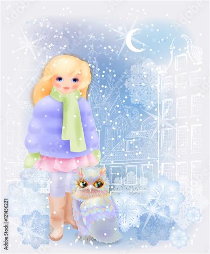 mloda-dziewczyna-i-sowa-w-snieznym-miescie