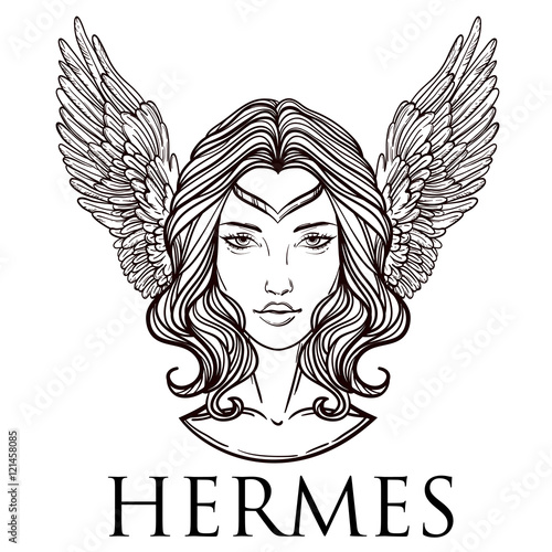 Vector Illustration Of The Greek God Hermes In The Form Of A Woman