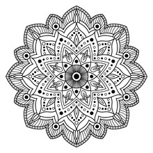 Monochrome White Black Flower Mandala Vector. Indian, Ethnic, Arabic, Islamic, Oriental Or Turkish Ottoman Ornament For Coloring Page. Flower Decoration Yoga Print.