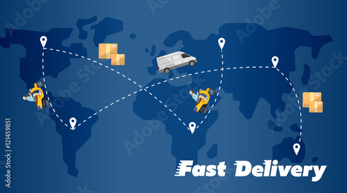 Delivery truck and scooter biker on background of blue world map delivery truck and scooter biker on background of blue world map with routes fast delivery gumiabroncs Choice Image