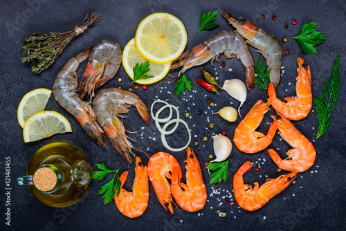 Aluminium Prints Seafoods Seafood with Shellfish Red and White Shrimps and Cooking Ingredi