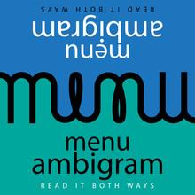 Menu Ambigram Typography Logo Cover