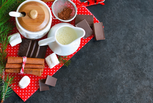 Canvas Prints Chocolate Ingredients for hot chocolate for the new year with space