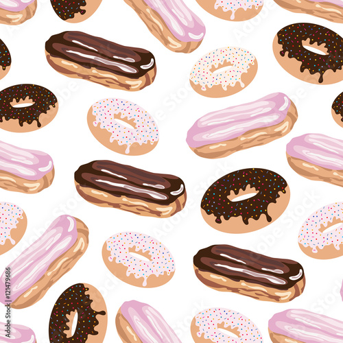 Cotton fabric Seamless pattern with eclair and doughnut.Sweet vector print.Colorful background