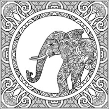 Coloring Page With Elephant In Decorative Mandala Frame.