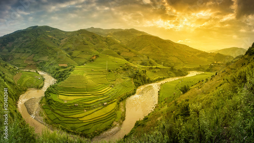 Fotobehang Rijstvelden Green Rice fields on terraced in Muchangchai, Vietnam Rice field
