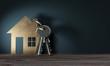 canvas print picture - 3d Objekt Haus mit Schlüssel, geschenk zum einzug ins neue Haus