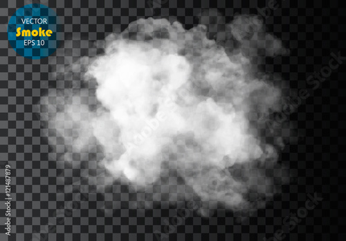 Deurstickers Rook Fog or smoke isolated transparent special effect. White vector cloudiness, mist or smog background. Vector illustration