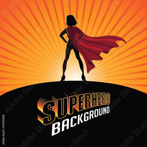 Fotografía Silhouette cartoon girl in superhero costume burst background