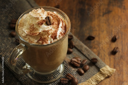 Fotografie, Obraz  Coffe with whipped cream/ Coffee latte. selective focus