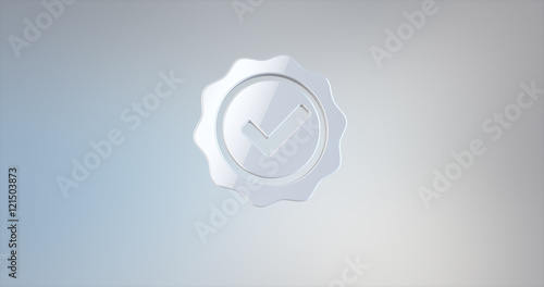 Approve Verified White 3d Icon on gradient background Wallpaper Mural
