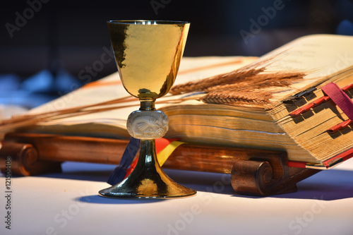 Fotografie, Obraz  Elegant golden chalice with open prayer book in the background.
