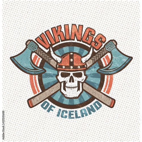 Logo with iceland viking skull in a horned helmet and crossed axes Poster