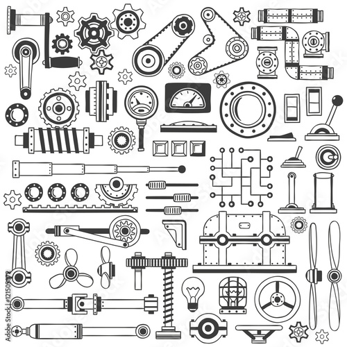 Set of industrial machine parts in doodle style. Suitable for construction machinery. Wall mural