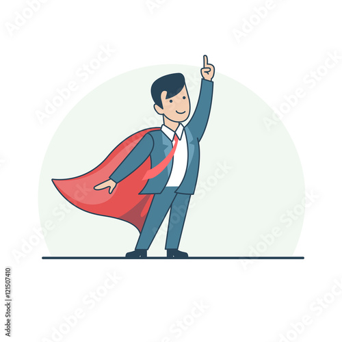 Linear Flat Superhero point suit red cape vector