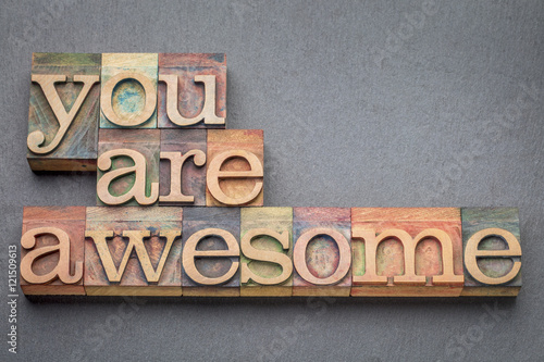 you are awesome in wood type Canvas Print