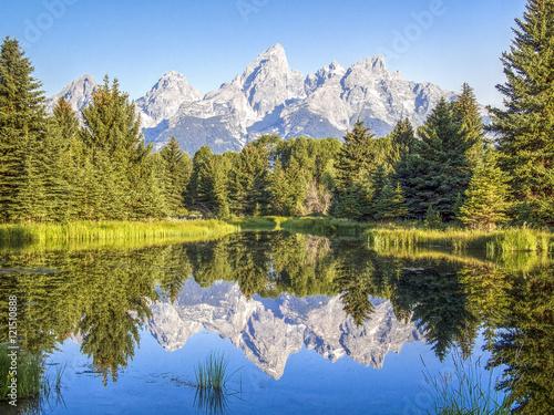 Poster Reflexion Mountain Reflection at Schwabacher Landing