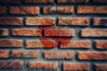 Heart On The Old Broken Brick Wall