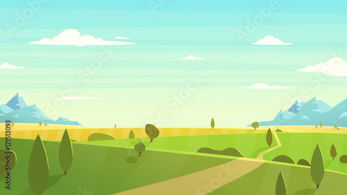 Poster Bleu clair Natural landscape Cartoon vector illustration