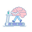 Brain Workout. The concept of brain activity. Training or sports activities on the treadmill . Vector illustration in a linear style isolated on white background.