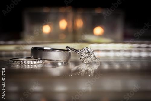 Fotografie, Obraz  Wedding rings stacked on beautiful background