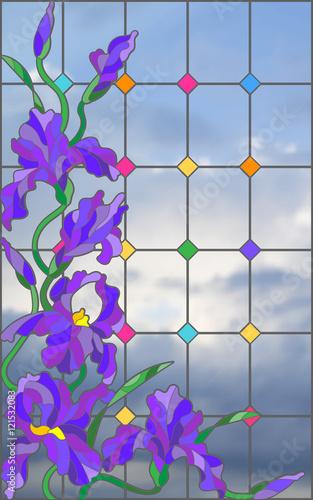 ilustracja-w-stylu-witrazu-z-kwiatami-pakami-i-liscmi-teczowki-na-tle-nieba