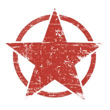 Grunge Red Star In Circle