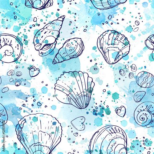 wzor-seashells-na-plazy-kolor-linia-na-bialym-tle-recznie-rysowane-wzor