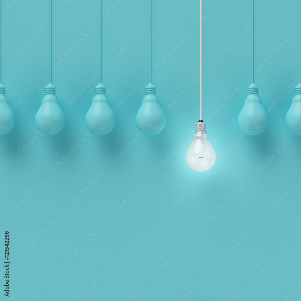 Fototapety, obrazy: Hanging light bulbs with glowing one different idea on light blue background , Minimal concept idea , flat lay , top