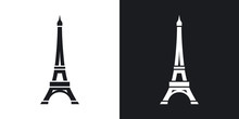 Vector Eiffel Tower Icon. Two-tone Version On Black And White Background