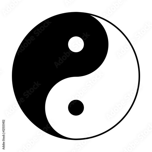 Photo  Yin Yang symbol of Chinese phylosophy describes how opposite and contrary forces may be complementary, interconnected and interdependent in the natural world