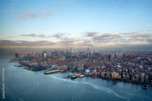 Fotografia Manhattan, Hudson River and Financial disctrict from a helicopter