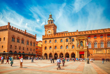 Italy Piazza Maggiore In Bologna Old Town