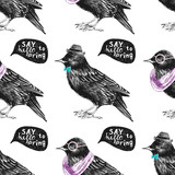 seamless pattern with dressed up starling - 121557433