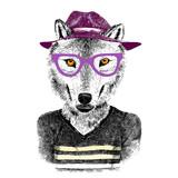 hand drawn wolf hipster - 121557846