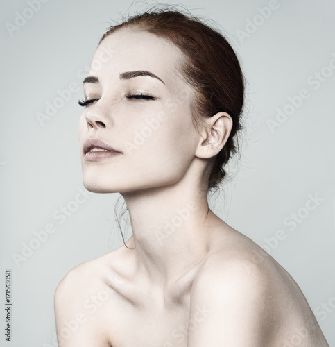 Cadres-photo bureau Akt Beauty Woman face Portrait. Beautiful Spa model Girl with Perfec
