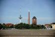 Parkplatz Bremen Bürgerweide mit Messeturm / Der Parkplatz Bürgerweide in Bremen an der  der ÖVB Arena mit dem Messeturm im Hintergrund.