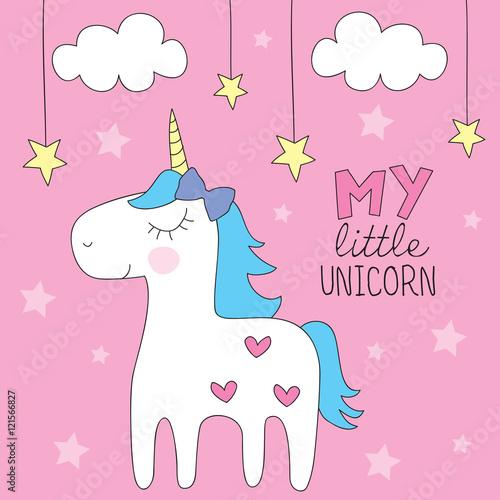 Deurstickers Pony cute colorful unicorn vector illustration