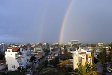 Double Rainbow After Rain Over Lod City, Israel.