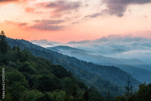 Foto op Aluminium Bergen Morning at Great Smoky Mountains