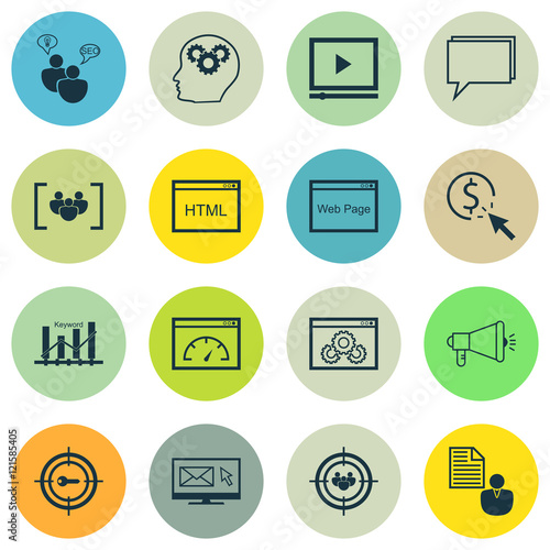 Photo  Set Of SEO, Marketing And Advertising Icons On Target Keywords, Web Page, Website Optimization And More