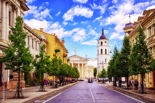 Gediminas Avenue and Cathedral square, Vilnius, Lithuania, Fototapet