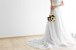 canvas print picture - Bride in beautiful dress holding wedding bouquet