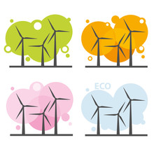 Wind Power Stations, Vector Set