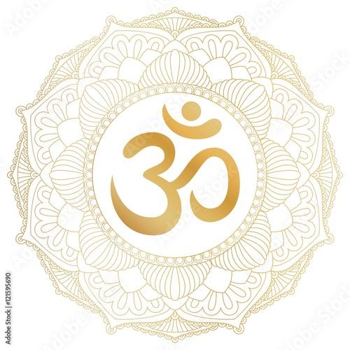 Aum Om Ohm Symbol In Decorative Round Mandala Ornament Buy This