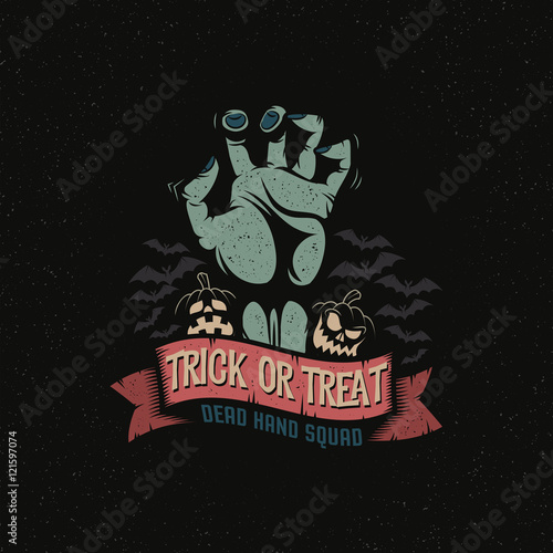 Ingelijste posters Halloween Dead Man's Hand with a Halloween pumpkin, ribbon and bats. Trick or treat logo October 31. Vector illustration. A layered.