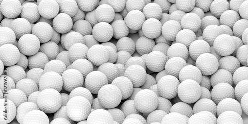 Valokuva  Golf balls background. 3d illustration