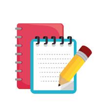 Cartoon Notebook Orange With Spiral Design Vector Illustration Eps 10