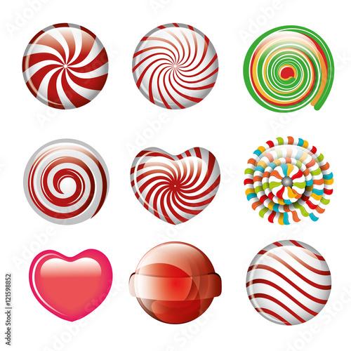 Fototapeten Künstlich set candies spiral and heart different color design vector illustration eps 10