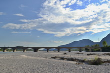 Dry Riverbed With Bridge, Blue...